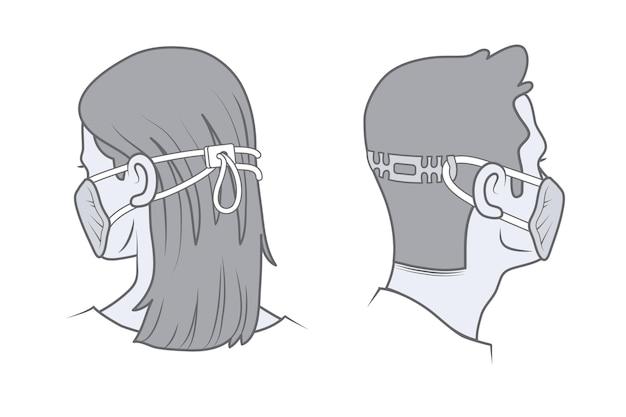 Rysowane osoby w regulowanych maskach na twarz