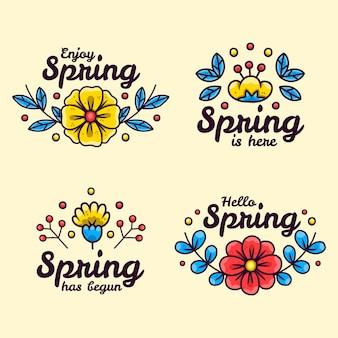 Rysowane piękne wiosenne etykiety