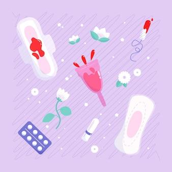 Rysowane produkty higieny kobiecej