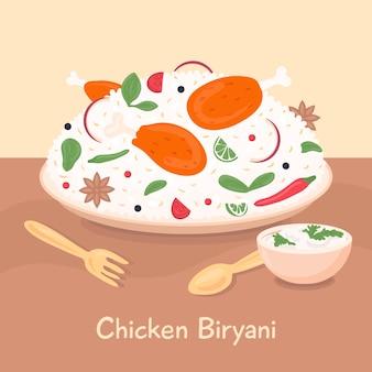 Rysowane pyszne biryani z kurczaka w talerzu