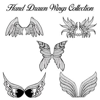 Rysowane ręcznie czarno-białe skrzydła wings