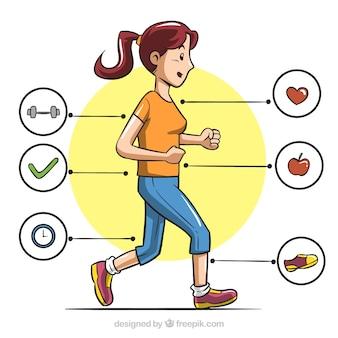 Rysowane ręcznie infografika kobiety biegnie