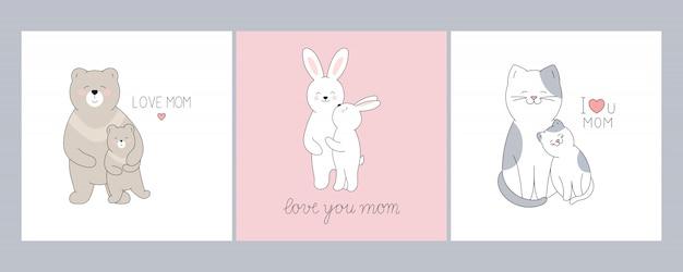 Rysowane słodkie zwierzęta na kartki z życzeniami na dzień matki.