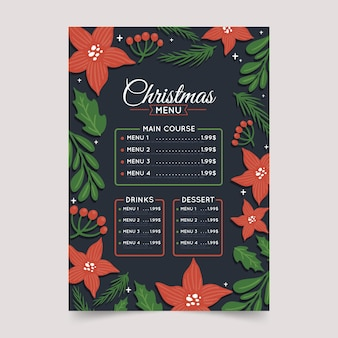 Rysowane świąteczne menu restauracji bożonarodzeniowej