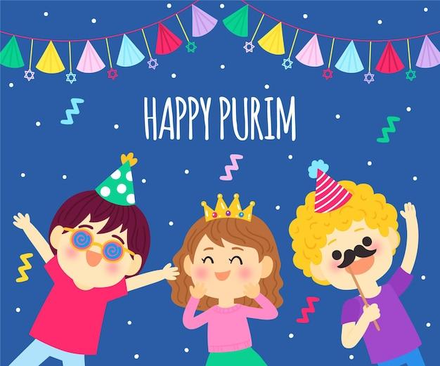Rysowane szczęśliwy dzień purim ilustracja