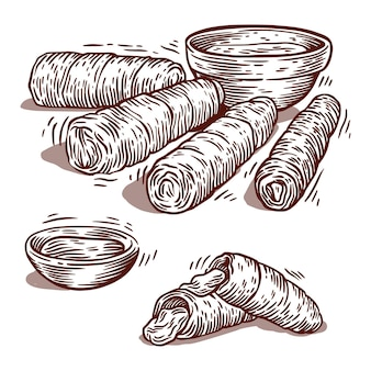 Rysowane tequeños z sosem