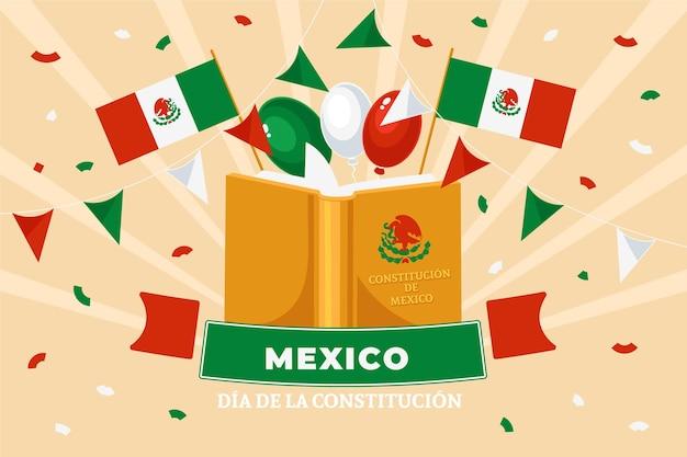 Rysowane tło dzień konstytucji meksyku