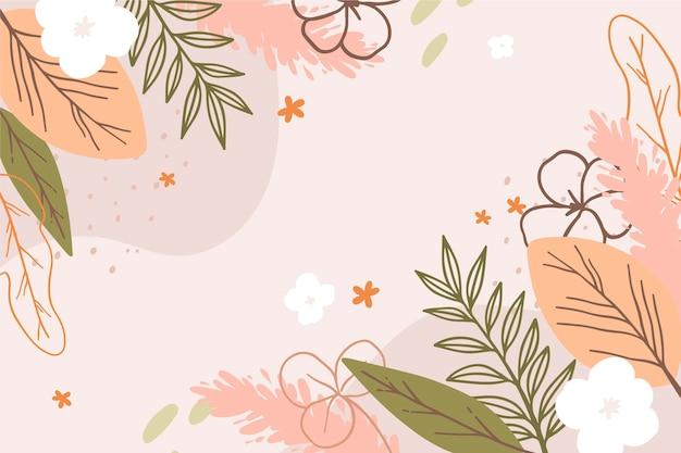 Rysowane tło wiosna z kwiatami