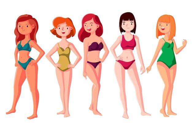 Rysowane typy kobiecych kształtów ciała