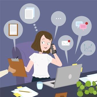 Rysowane wielozadaniowa biznes kobieta ilustracja