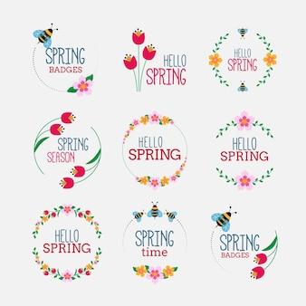 Rysowane zestaw etykiet wiosennych