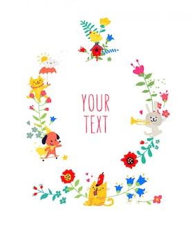 Rysowane zwierzęta i elementy kwiatowe.
