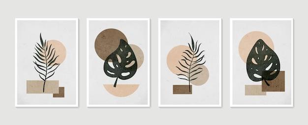 Rysowanie linii boho liści o abstrakcyjnym kształcie. sztuka abstrakcyjna roślin.