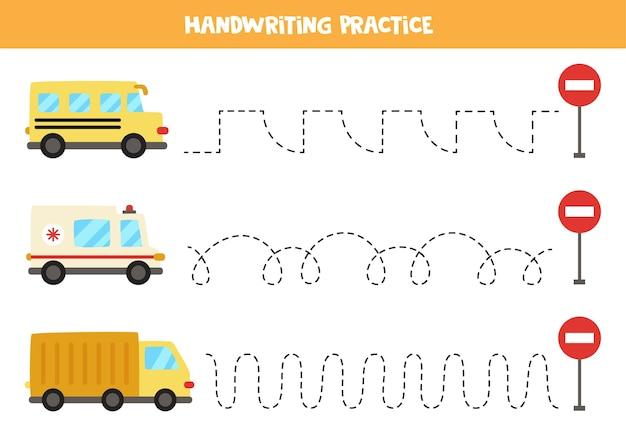Rysowanie linii dla dzieci z autobusu szkolnego z kreskówek, samochodu pogotowia, ciężarówki. ćwiczenia pisma ręcznego dla dzieci.