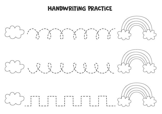 Rysowanie linii dla dzieci z czarno-białą chmurą i tęczą. ćwiczenia pisma ręcznego dla dzieci.