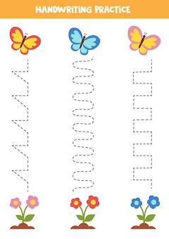 Rysowanie linii dla dzieci z kolorowymi motylami i kwiatami. ćwiczenia pisma ręcznego dla dzieci.