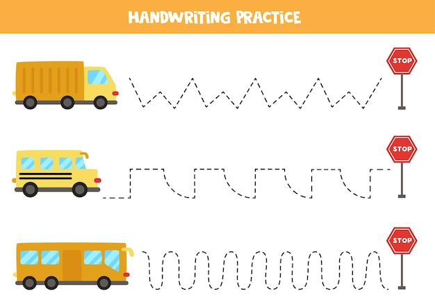 Rysowanie linii dla dzieci z kolorowymi środkami transportu. ćwiczenia pisma ręcznego dla dzieci.
