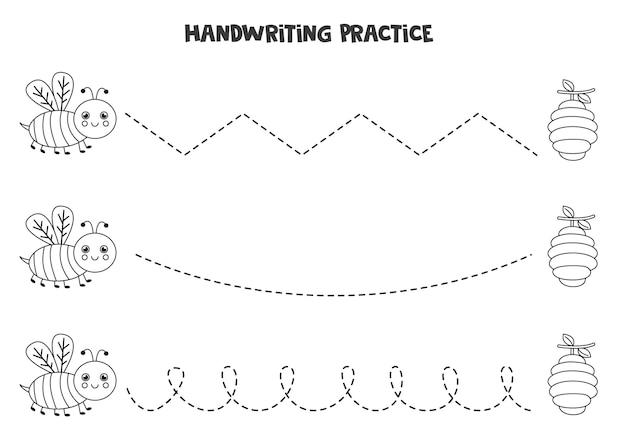 Rysowanie Linii Dla Dzieci Z Uroczą Czarno-białą Pszczołą. ćwiczenia Pisma Ręcznego Dla Dzieci. Premium Wektorów