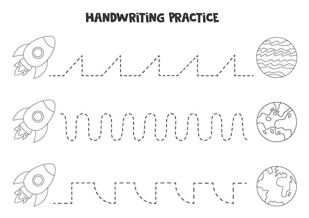 Rysowanie linii dla dzieci z uroczą czarno-białą rakietą i planetami. ćwiczenia pisma ręcznego dla dzieci.