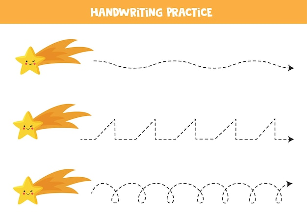 Rysowanie linii dla dzieci z uroczą spadającą gwiazdą. ćwiczenia pisma ręcznego dla dzieci.