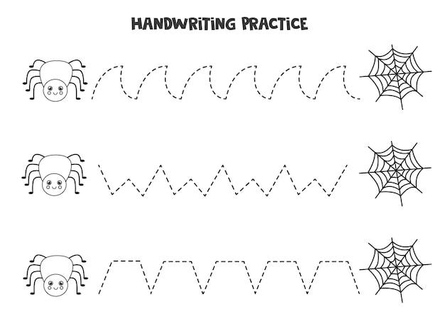 Rysowanie linii dla dzieci z uroczym czarno-białym pająkiem i pajęczyną. ćwiczenia pisma ręcznego dla dzieci.