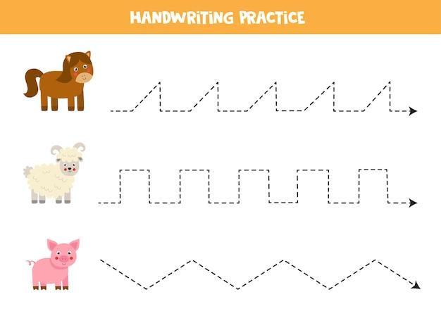 Rysowanie linii dla dzieci z uroczym koniem ćwiczenia pisma ręcznego dla dzieci