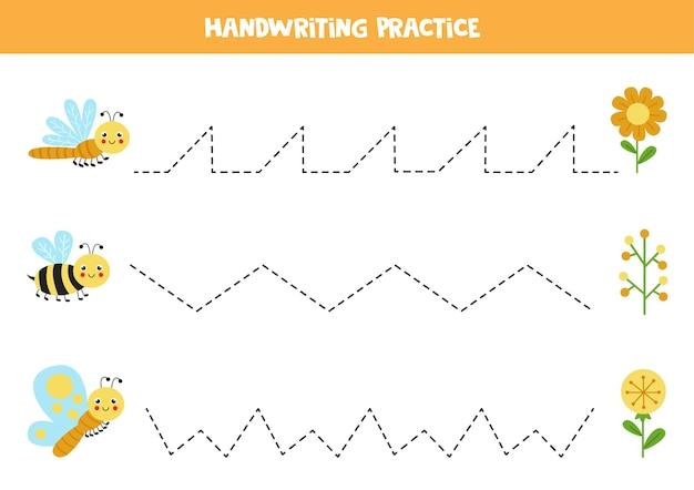 Rysowanie linii dla dzieci z uroczym motylem, pszczołą i ważką. ćwiczenia pisma ręcznego dla dzieci.