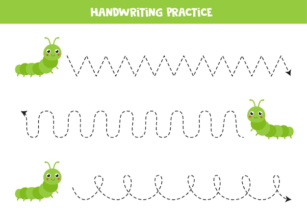 Rysowanie linii dla dzieci z uroczymi gąsienicami. ćwiczenia pisma ręcznego dla dzieci.