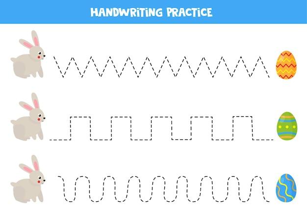 Rysowanie linii dla dzieci ze słodkim królikiem idącym do pisanek.