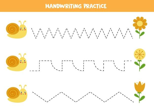 Rysowanie linii dla dzieci ze słodkim ślimakiem i kwiatami. ćwiczenia pisma ręcznego dla dzieci.