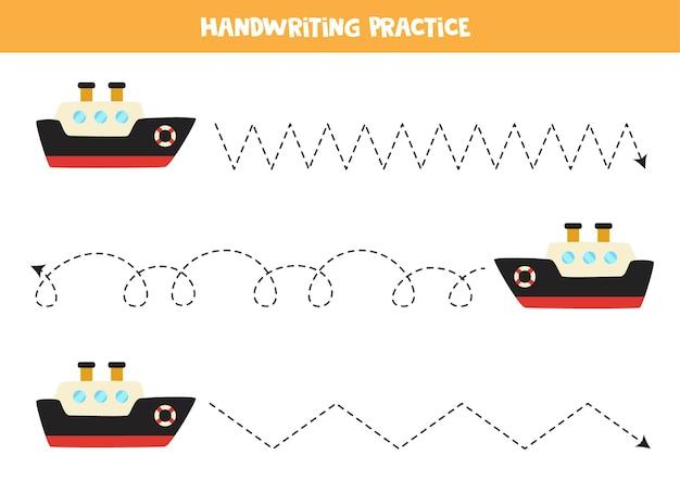 Rysowanie linii dla dzieci ze statkiem z kreskówek. ćwiczenia pisma ręcznego dla dzieci.