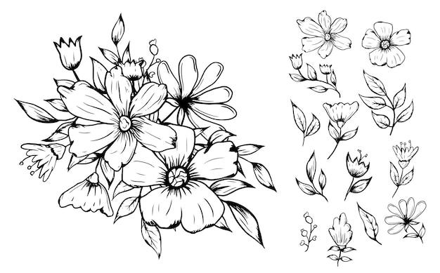Rysowanie linii kwiaty bukiet układ dekoracji zestaw