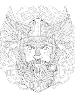 Rysowanie linii odważnego barbarzyńcy noszącego hełm pancerny z długimi rogami i długą brodą patrzącą do przodu. warior używając barbute ma skrzydła za głową.