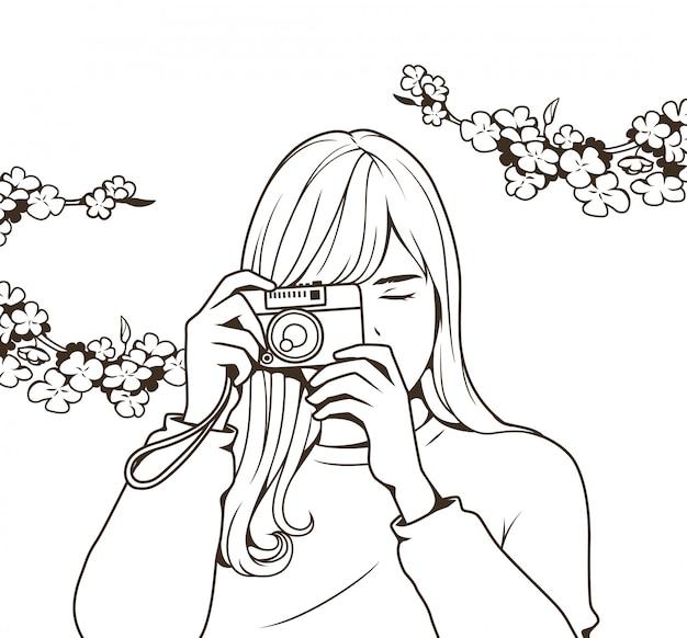 Rysowanie linii piękna dziewczyna trzyma kamerę