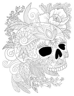 Rysowanie linii tatuażu czaszki otoczone ładnymi różami i przyjemnymi liśćmi w widoku z boku, patrząc w dół. straszny rysunek głowy sceleton w załączeniu piękne kwiaty.