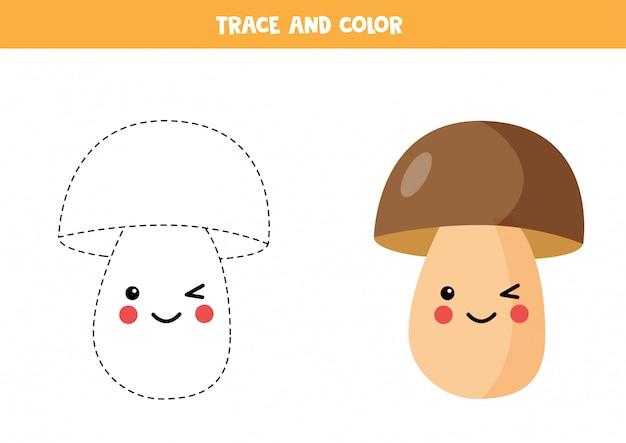 Rysowanie linii z uroczym borowikiem kawaii. kolorowanki dla dzieci.