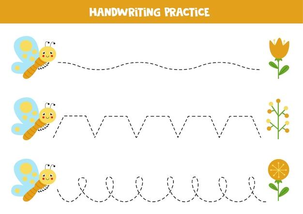 Rysowanie linii z uroczym motylem i kwiatami. ćwiczenia pisma ręcznego dla dzieci.