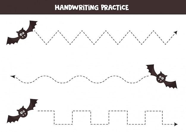 Rysowanie linii z uroczym nietoperzem z kreskówek. gry halloween.