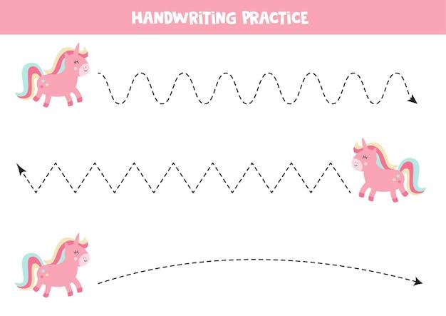 Rysowanie linii z uroczym różowym jednorożcem. ćwiczenia pisma ręcznego dla przedszkolaków. arkusz roboczy do druku.