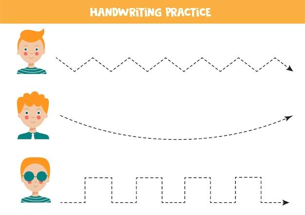 Rysowanie Linii Z Uroczymi Rudowłosymi Chłopcami ćwiczenie Pisma Ręcznego Dla Dzieci Premium Wektorów