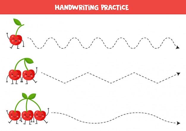Rysowanie linii ze słodkimi wiśniami kawaii. ćwiczenia pisma ręcznego dla dzieci. arkusz umiejętności pisania. gra do druku dla przedszkolaków.