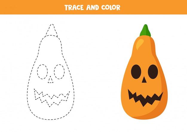 Rysowanie po śladzie i kolorowanie dynie halloween. ćwiczenia pisma ręcznego.