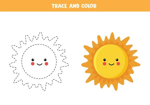 Rysowanie po śladzie i kolorowanie śliczne kawaii sun. gra edukacyjna dla dzieci. praktyka pisania i kolorowania.