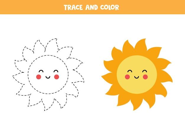 Rysowanie Po śladzie I Kolorowanie śliczne Kawaii Sun. Gra Edukacyjna Dla Dzieci. Praktyka Pisania I Kolorowania. Premium Wektorów