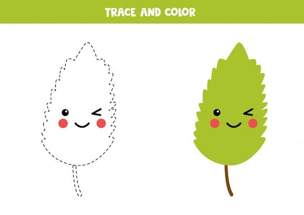 Rysowanie po śladzie i kolorowanie uśmiechniętego zielonego liścia kawaii.