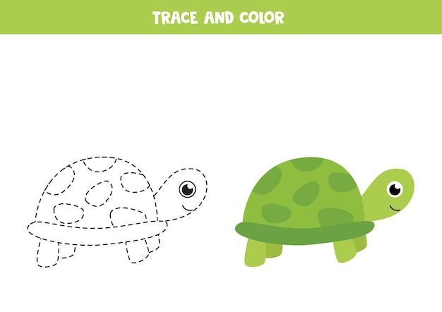 Rysowanie po śladzie i pokolorowanie słodkiego żółwia zielonego. gra edukacyjna dla dzieci. praktyka pisania i kolorowania.