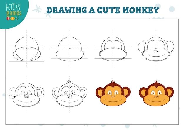 Rysowanie ślicznego ćwiczenia małpy dla dzieci w wieku przedszkolnym.
