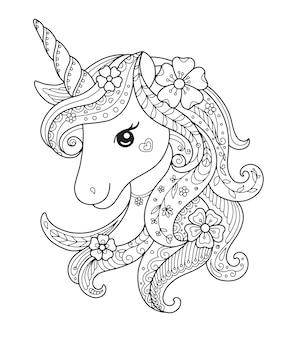 Rysowanie stylu zentangle jednorożca, kolorowanie ilustracji strony