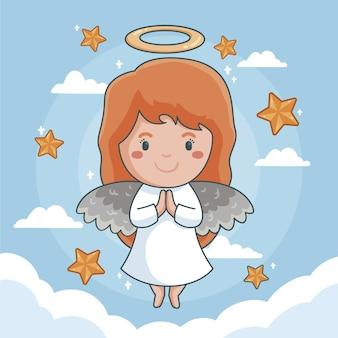 Rysowany buźkę anioła bożego narodzenia