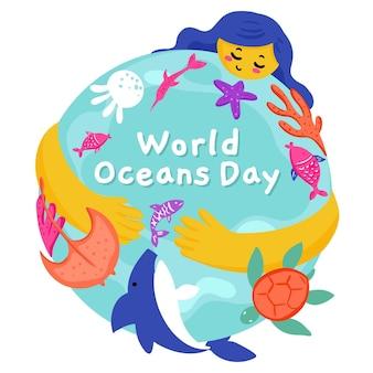 Rysowany światowy dzień oceanów
